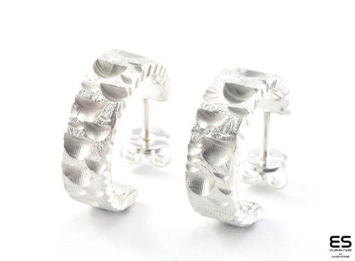 Moon Earrings – silver half Moon
