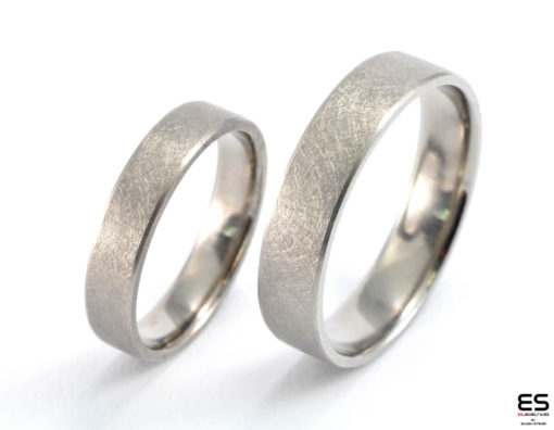 Wedding Rings - Titanium Icy Matt