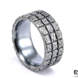 Moon Ring - Oxidized Silver Squares